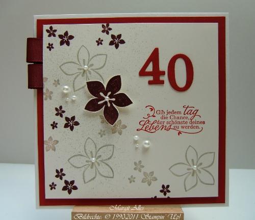 Geburtstagskarte 40 Geburtstag Basteln Hylenmaddawardscom